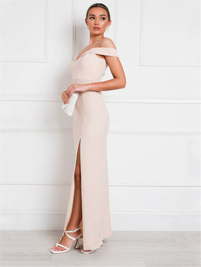 Apricot Off-the-Shoulder Maxi Dress