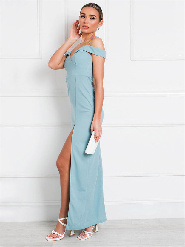 Blue Off-the-Shoulder Maxi Dress
