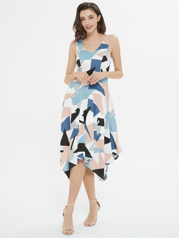 Multi Color Print Asymmetrical Midi Dress