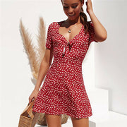 Dressystar Red Women Mini Dress Casual Summer Style Short Sleeve