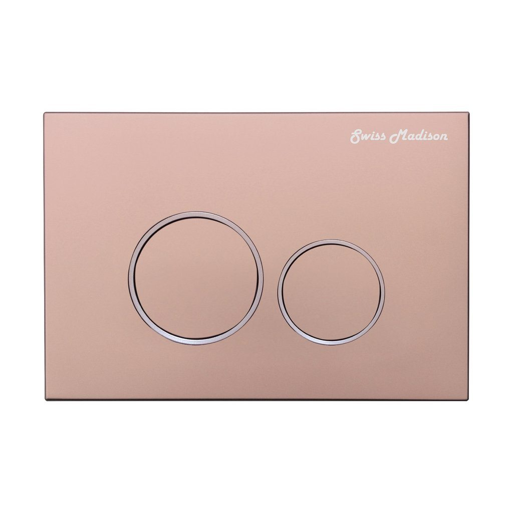 Actuator Plates - SM-WC001R Wall Mount Actuator Flush Push Button Plate With Round Buttons In Rose Gold