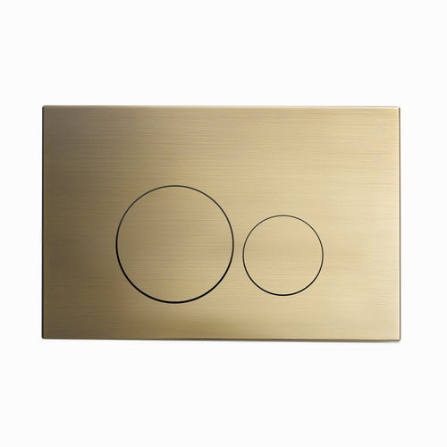 Actuator Plates - SM-WC001Z Wall Mount Actuator Flush Push Button Plate With Round Buttons In Brushed Brass