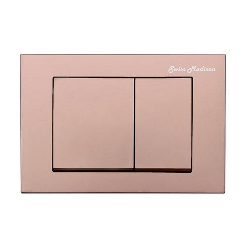 Actuator Plates - SM-WC002R Wall Mount Actuator Flush Push Button Plate With Square Buttons In Rose Gold