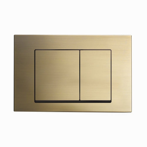 Actuator Plates - SM-WC002Z Wall Mount Actuator Flush Push Button Plate With Square Buttons In Brushed Brass