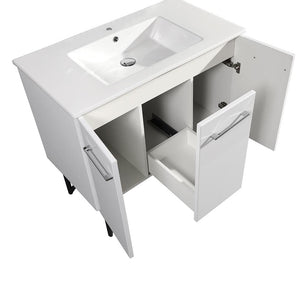 "Bathroom Vanity - Annecy 36"" Single White Two Doors, One Drawer, Bathroom Vanity"