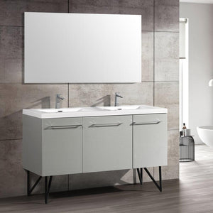 "Bathroom Vanity - Annecy 60"" Minimalist Brushed Aluminum Two Doors, One Drawer, Bathroom Vanity"