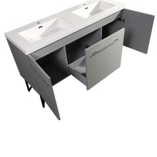"Load image into Gallery viewer, Bathroom Vanity - Annecy 60"" Minimalist Brushed Aluminum Two Doors, One Drawer, Bathroom Vanity"