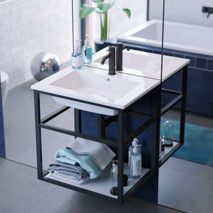 "Bathroom Vanity - Pierre 24"" Width Chrome Minimalist Metal Frame Single Sink Open Shelf Bathroom Vanity"