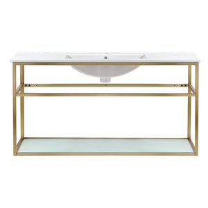"Bathroom Vanity - Pierre 48"" Width Gold Minimalist Metal Frame Single Sink Open Shelf Bathroom Vanity"