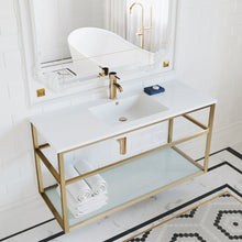 "Load image into Gallery viewer, Bathroom Vanity - Pierre 48"" Width Gold Minimalist Metal Frame Single Sink Open Shelf Bathroom Vanity"