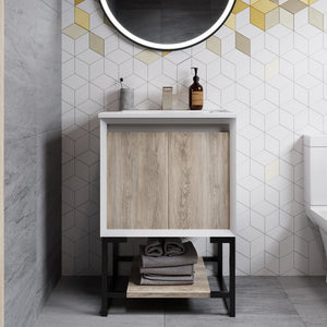 "Bathroom Vanity - SM-BV142 Marseille 24"" Oak Single, Two Doors, Open Shelf Bathroom Vanity"