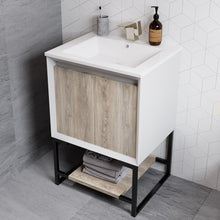 "Load image into Gallery viewer, Bathroom Vanity - SM-BV142 Marseille 24"" Oak Single, Two Doors, Open Shelf Bathroom Vanity"