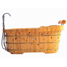 "Load image into Gallery viewer, Bathtubs - ALFI Brand AB1139 61"" Free Standing Cedar Wooden Bathtub With Wooden Headrest"