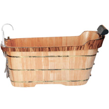 "Load image into Gallery viewer, Bathtubs - ALFI Brand AB1148 59"" Free Standing Wooden Bathtub With Chrome Tub Filler"