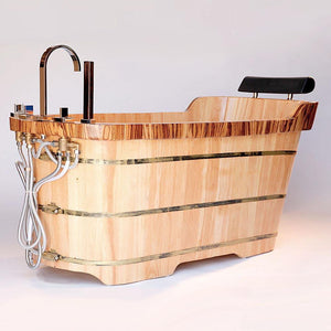 "Bathtubs - ALFI Brand AB1148 59"" Free Standing Wooden Bathtub With Chrome Tub Filler"