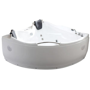 Bathtubs - EAGO AM125ETL 5 Ft Corner Acrylic White Whirlpool Bathtub For Two W Fixtures