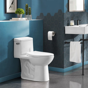 Left Side Flush Toilet - SM-1T121 Avallon One Piece Toilet Side Flush 1.28 Gpf