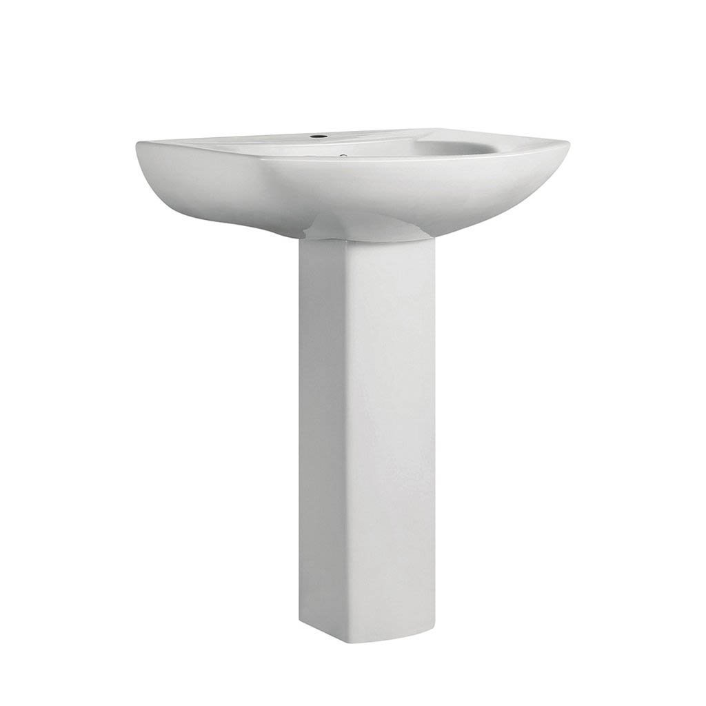 Pedestal Bathroom Sink - SM-PS305 Round Pedestal Bathroom Sink With Single Hole Faucet Mount