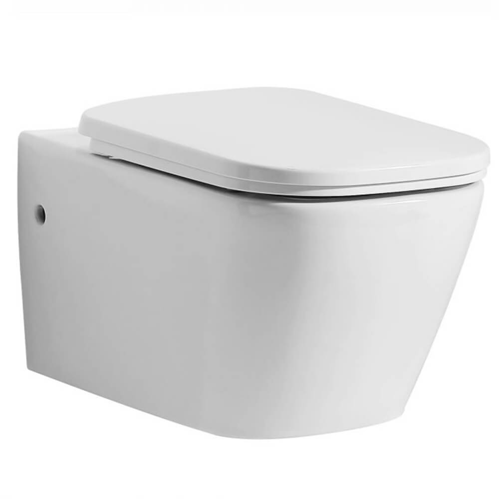 Wall Hung Toilet - EAGO WD390 White Modern Ceramic Wall Mounted Toilet Bowl