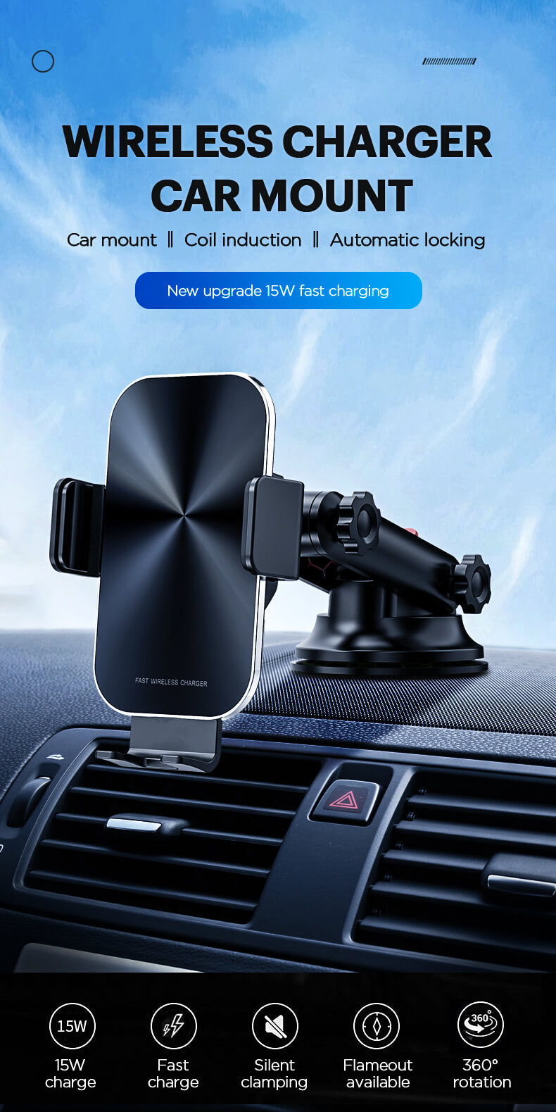2020 fast wireless charging car mount