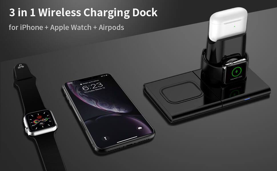 3in1 wireless charging station for apple