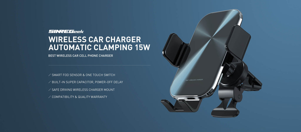 Automatic clamping Infrared Sensor wireless car charger mount