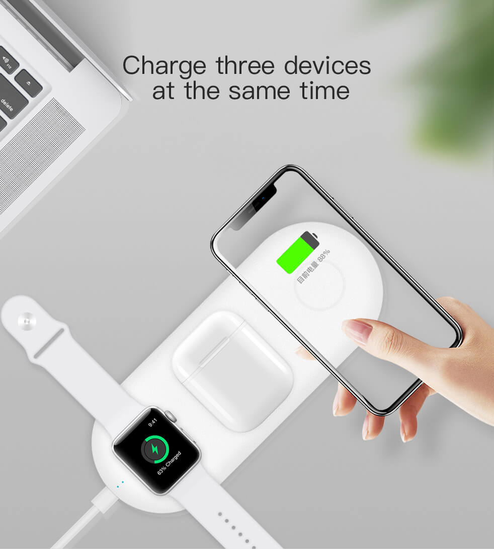 3 in1 portable wireless charger for Iphone, Airpods & Apple Watch - Wireless520