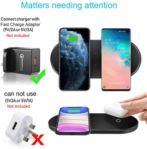 2 in 1 20W Dual Wireless Charger Pad for Samsung, iPhone, Airpods Pro