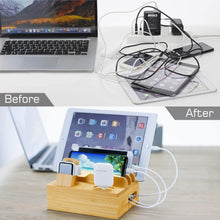Load image into Gallery viewer, bamboo charging station organizer