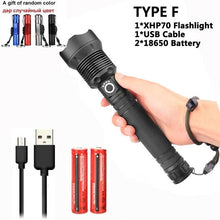 Load image into Gallery viewer, 90000 lumens XLamp xhp70.2 hunting most powerful led flashlight rechargeable usb torch cree xhp70 xhp50 18650 or 26650 battery