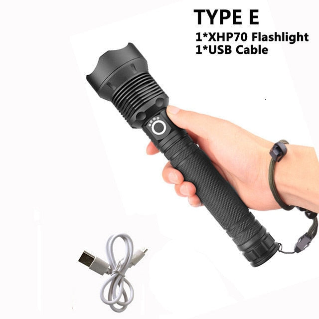 90000 lumens XLamp xhp70.2 hunting most powerful led flashlight rechargeable usb torch cree xhp70 xhp50 18650 or 26650 battery
