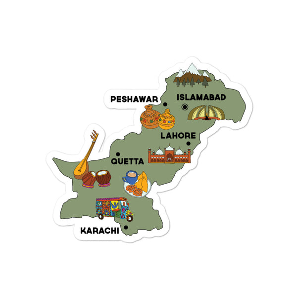 Map of Pakistan - Sticker