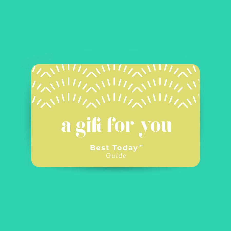 Best Today Guide Gift Card in white lettering with a lime green background and BTB logo marks at the top