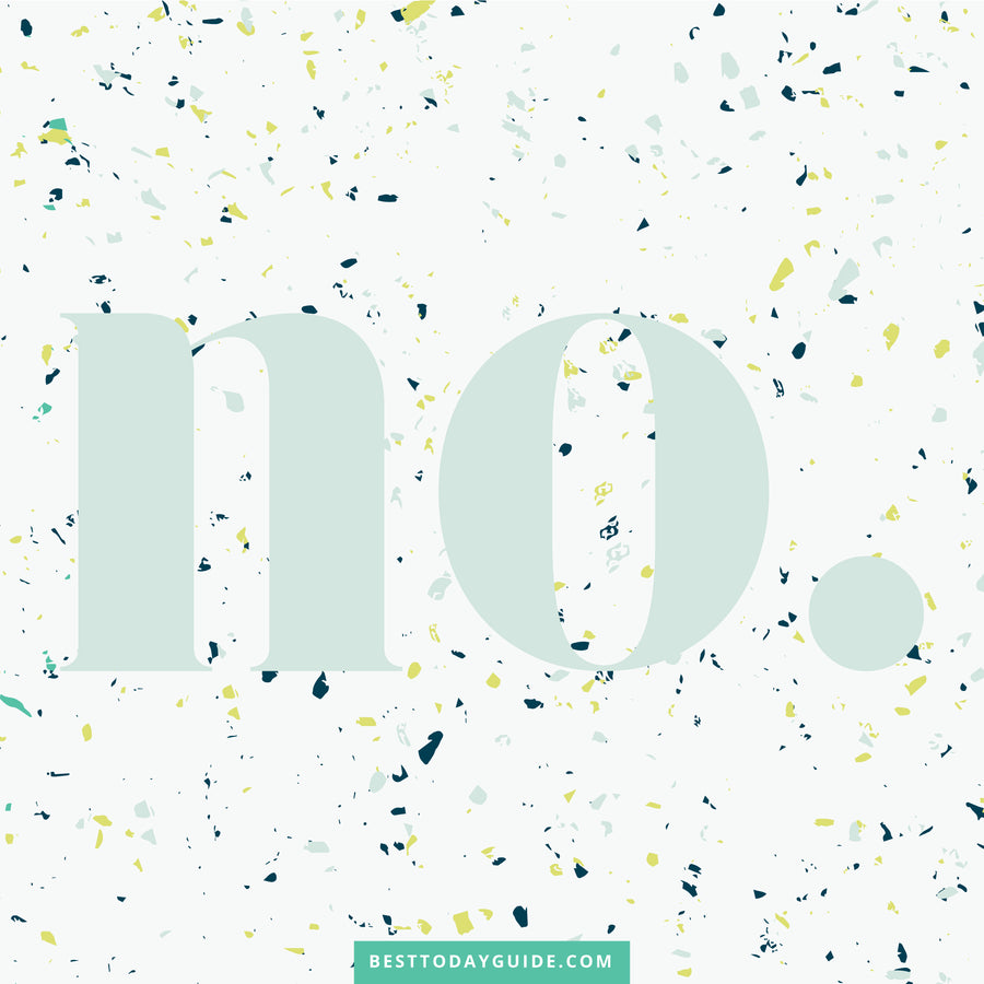 "The word ""No"" in teal, blue and lime green with Confetti background Wallpaper, Screensaver"