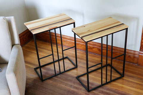 custom sycamore and walnut c tables with thin metal design