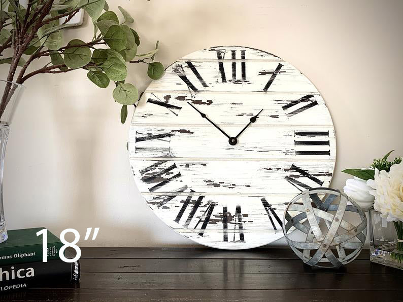 Farmhouse Style Large White Distressed Wall Clock with Black Roman Numerals