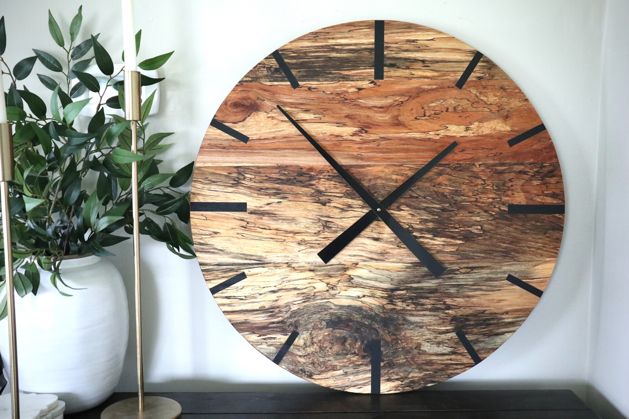 Mid Century Modern Hardwood Spalted Maple Wall Clock with Black Number Lines