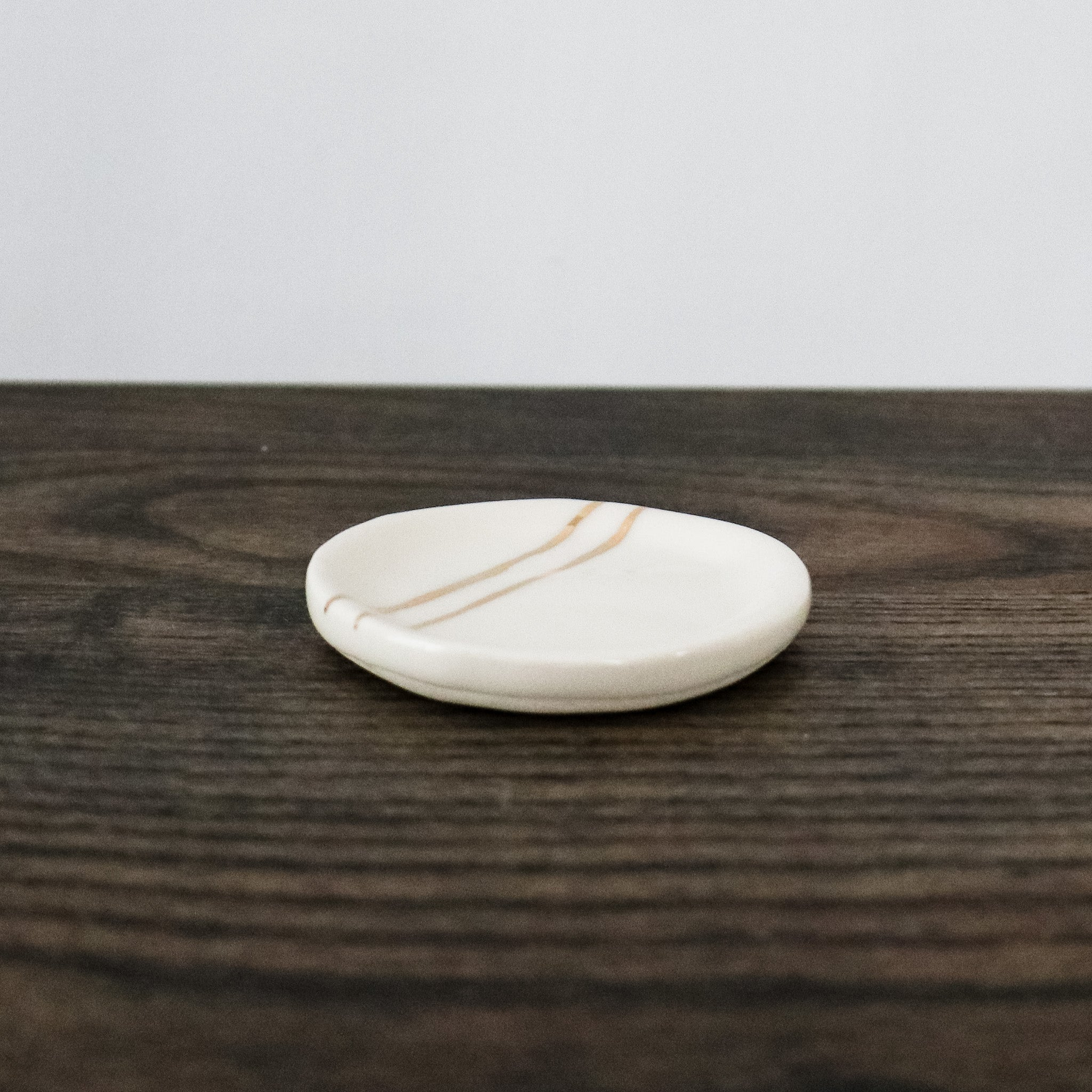 Gold Striped White Porcelain Dish