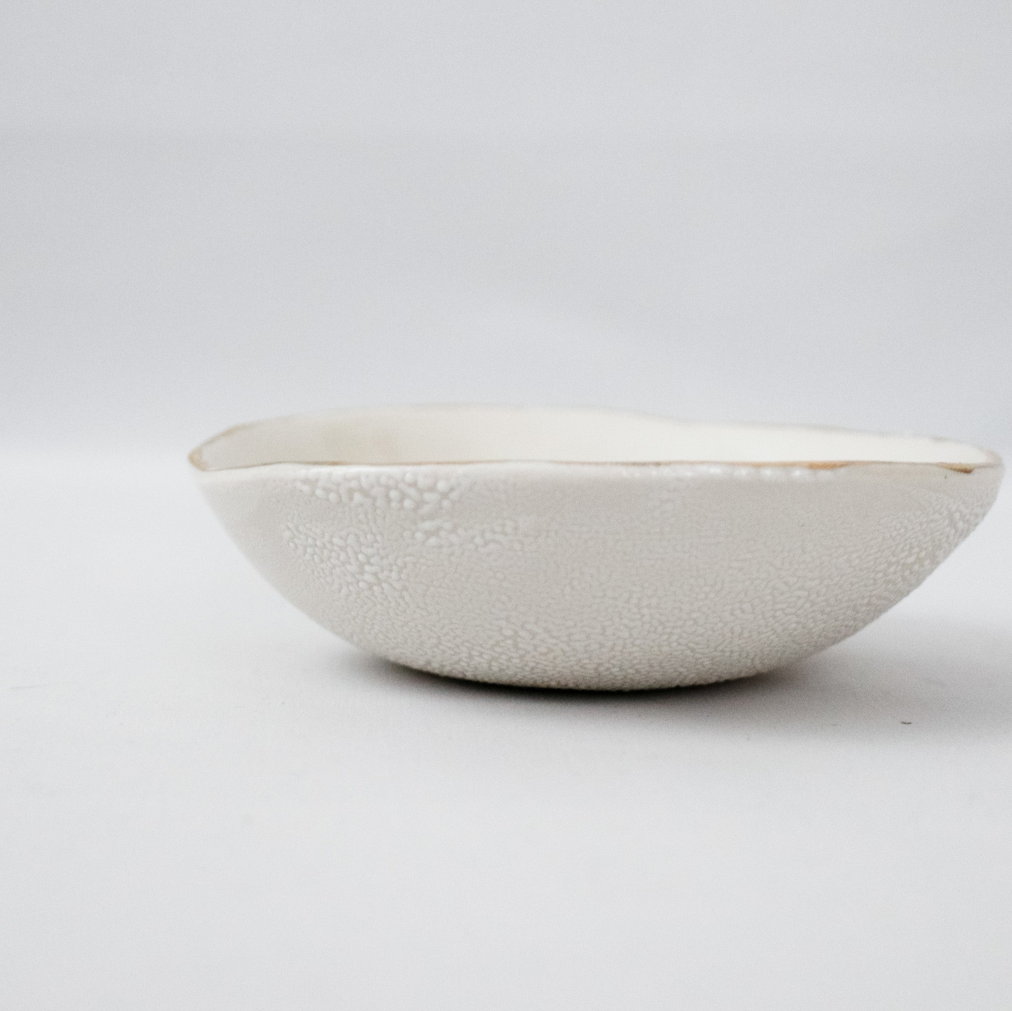Gold Rim White Porcelain Bowl
