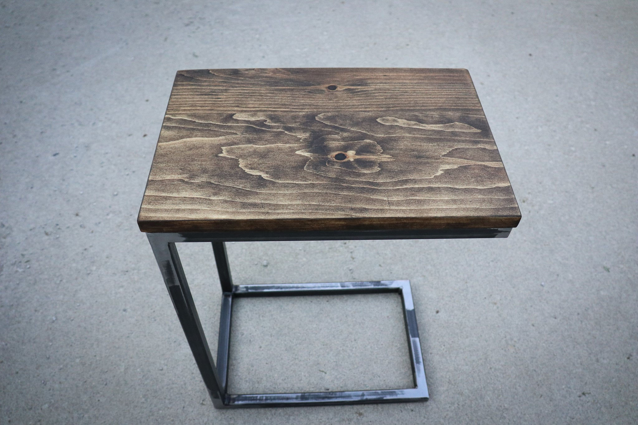 Pine Wood & Metal Industrial Side C Table
