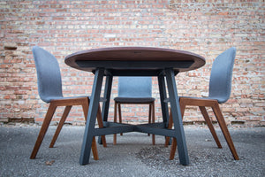 Modern Round Walnut Dining Table with Black Steel Legs