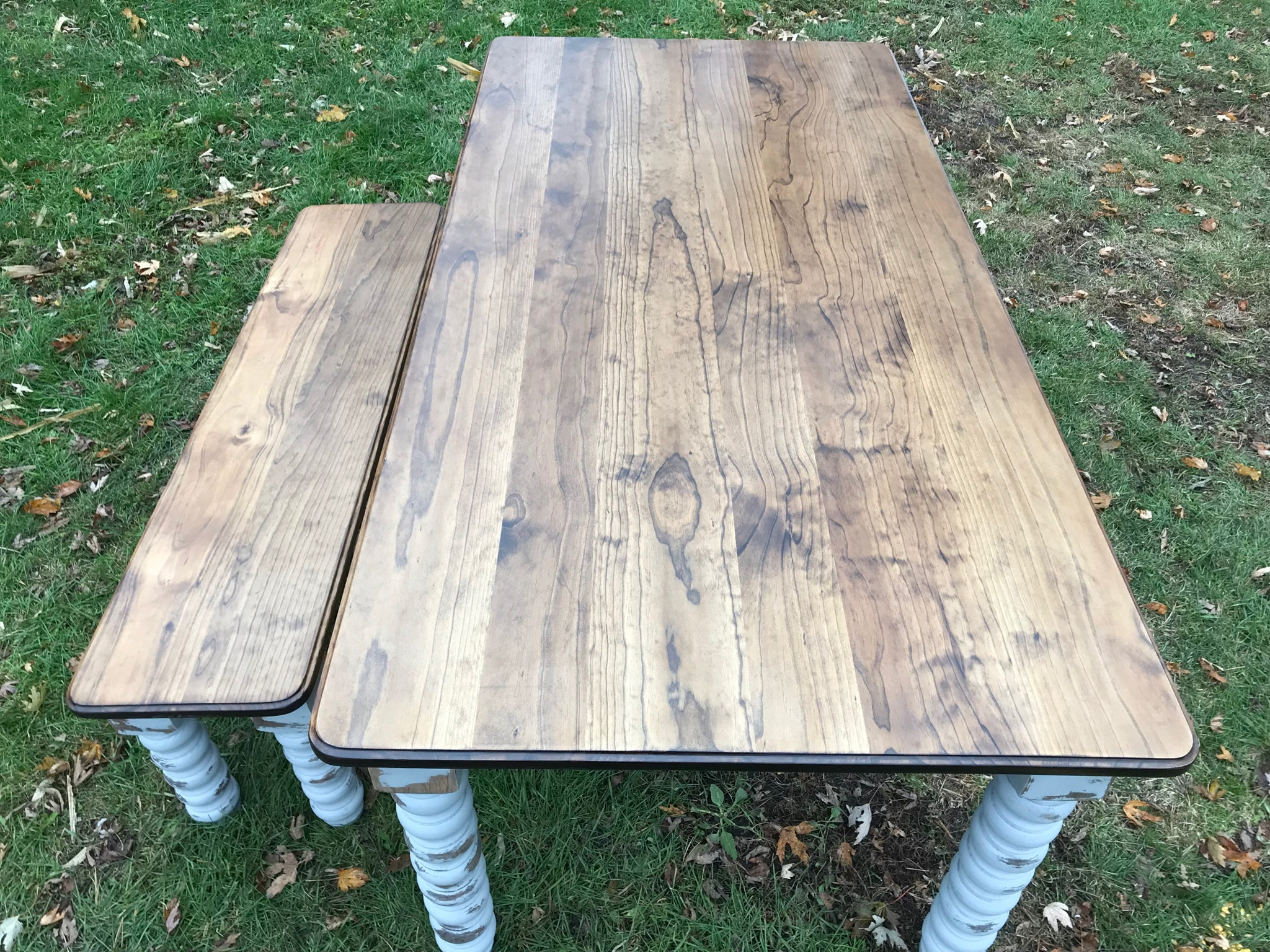 Farmhouse Dining Table with Grey Distressed Legs and Stained Top