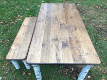 Load image into Gallery viewer, Farmhouse Dining Table with Grey Distressed Legs and Stained Top