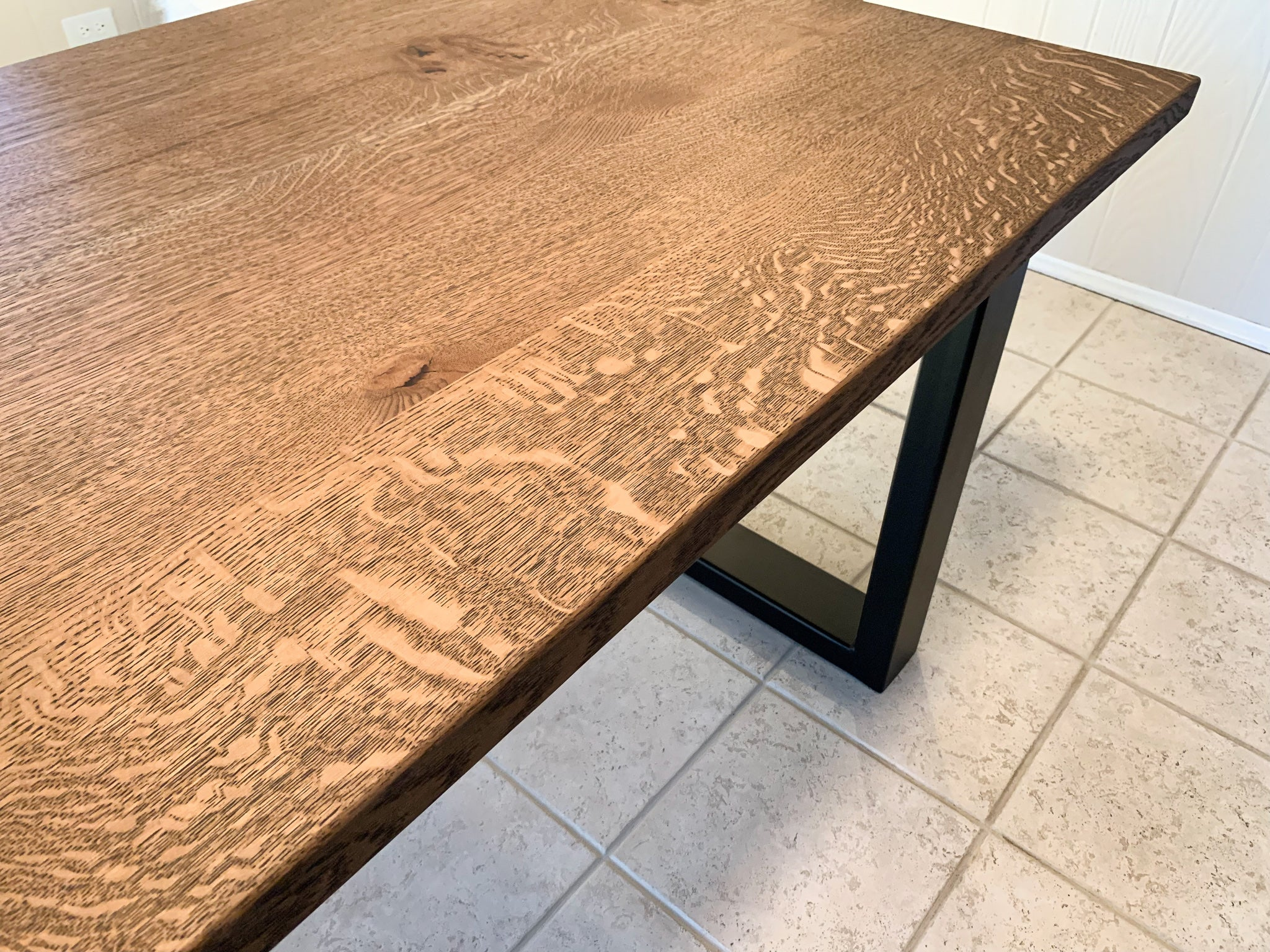Modern Quartersawn White Oak Dining Table with Black Square Steel Legs