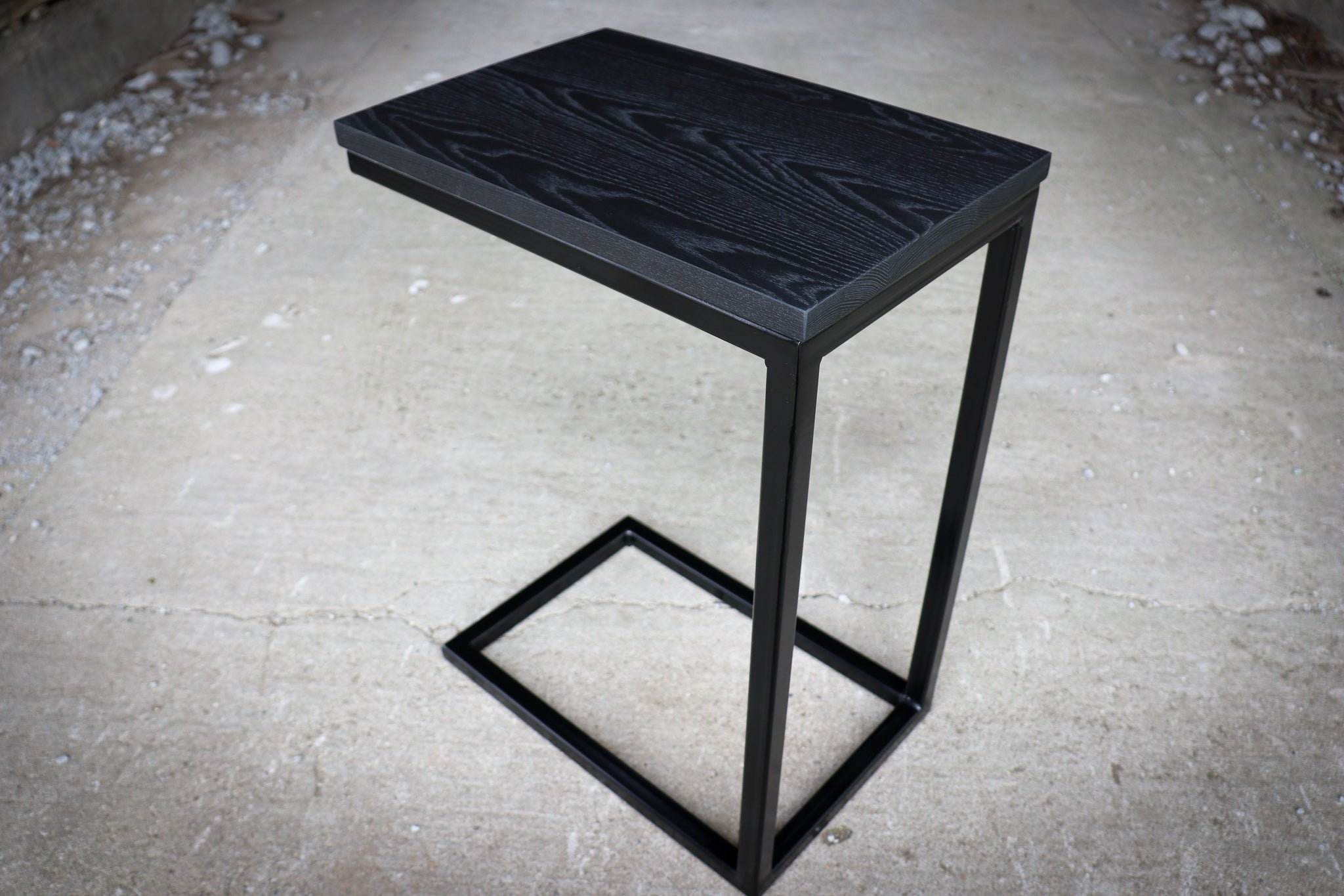 Charcoal Black Ash Industrial Side C Table