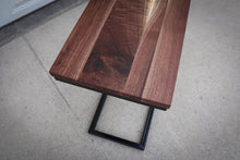 Load image into Gallery viewer, Straight Edge Walnut Industrial Side C Table
