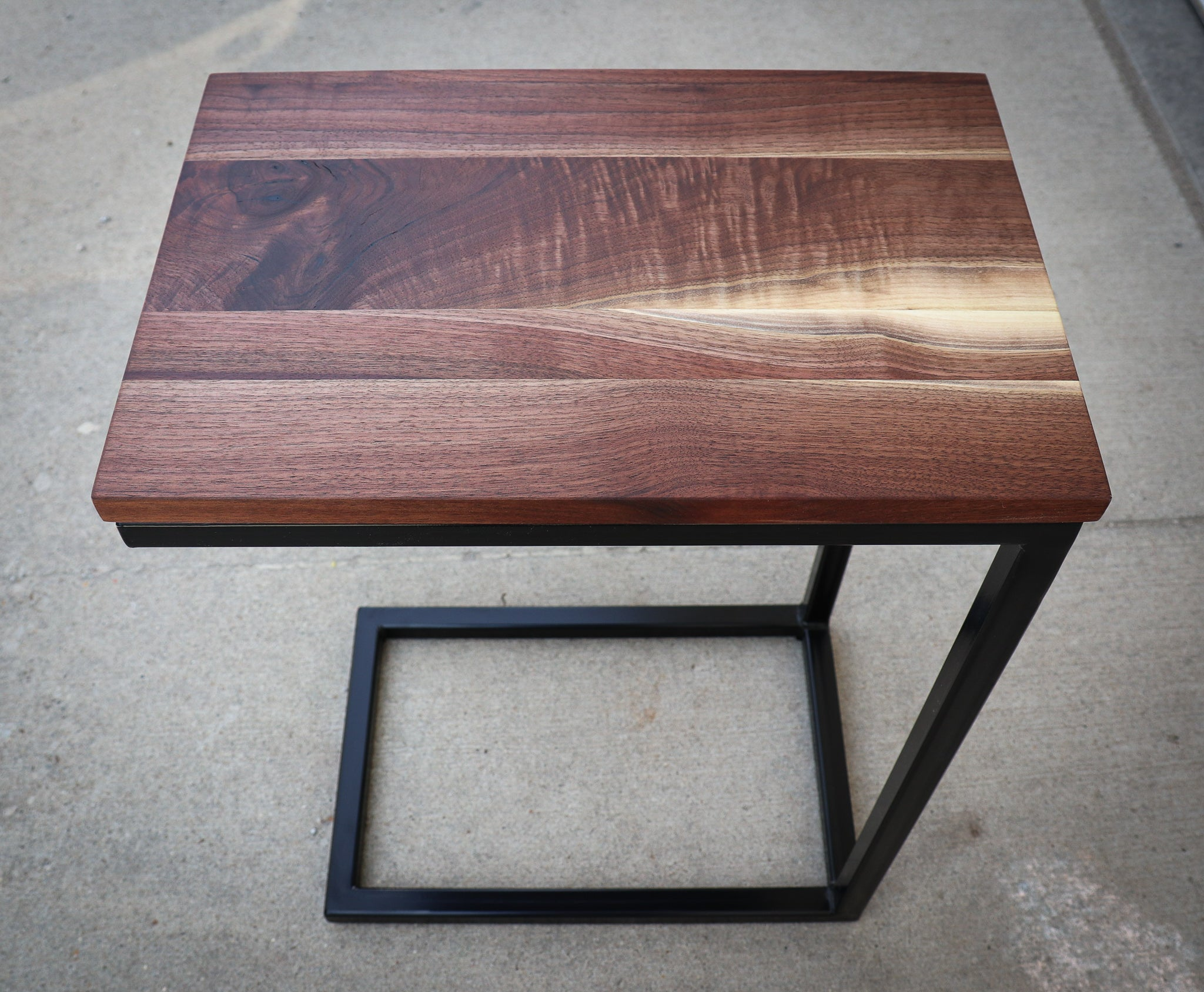 Straight Edge Walnut Industrial Side C Table