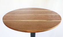 Load image into Gallery viewer, Modern Round Walnut Pub Table with Black Steel Legs   |   Bar or Standard Height