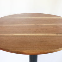 Modern Round Walnut Pub Table with Black Steel Legs   |   Bar or Standard Height