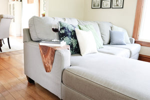 walnut wood sofa armrest table